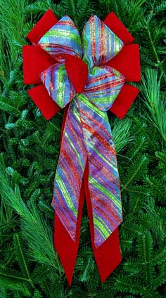 C3 - Red Sparkle Velvet/White Sheer - Red Green Glitter Diagonal Stripe Combow