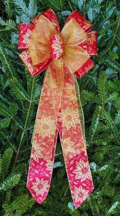 Gold Shimmer Poinsettia on Satin/Gold Sheer Combow.