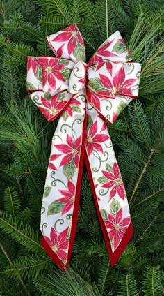 C6 - White Satin Red Poinsettia - Red Poly Overlay