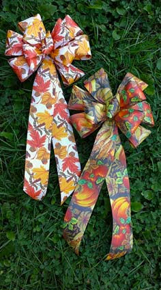 CFD2 - Acorn & Leaves and Fall Produce Prints Single Ribbon Bows
